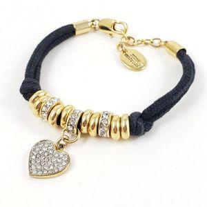 Juicy Couture Black Cord Bracelet Pave Heart Charm